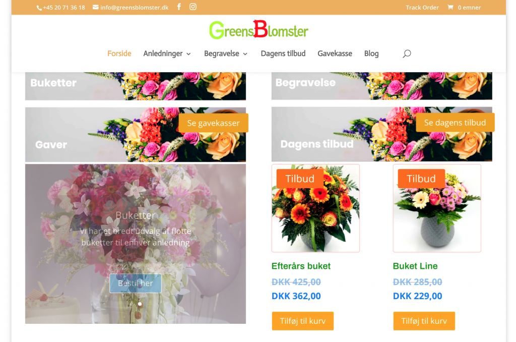 GreenBlomster.dk, ecommerce, woocommerce and Divi